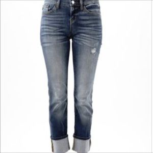 Judy Blue distressed dark jeans with cuffed bottom